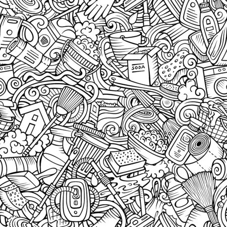 Cartoon cute doodles hand drawn Cleaning seamless pattern. Line art detailed, with lots of objects background. Endless funny vector illustration. All objects separate.