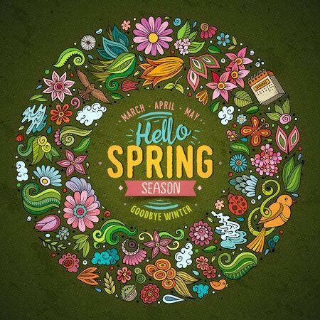 Ensemble dessiné à la main de vecteur coloré d'objets de griffonnage de dessin animé de printemps