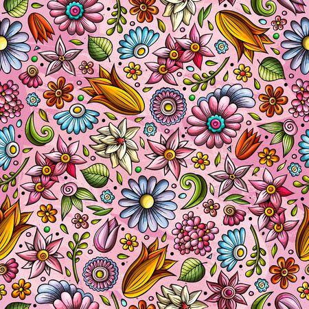 Cartoon cute hand drawn Spring seamless pattern.
