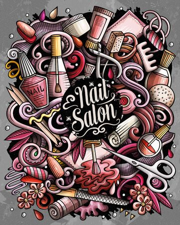 Nail Salon hand drawn vector doodles illustration. Manicure poster design.