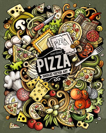 Cartoon vector doodles Pizza illustration. pizzeria funny picture Vettoriali