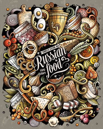 Russian food hand drawn vector doodles illustration. Russia cuisine poster