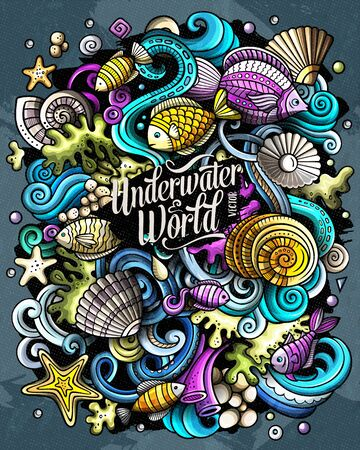 Cartoon vector doodles Underwater world illustration. Colorful, detailed, with lots of objects background. All objects separate. Bright colors sea life funny picture