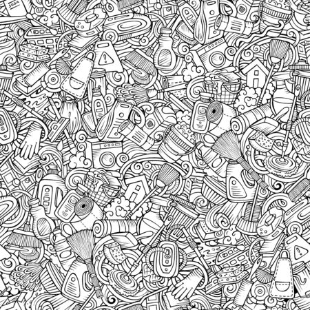 Cartoon cute doodles hand drawn Cleaning seamless pattern