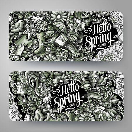 Cartoon cute colorful vector hand drawn doodles Spring season banners 矢量图像