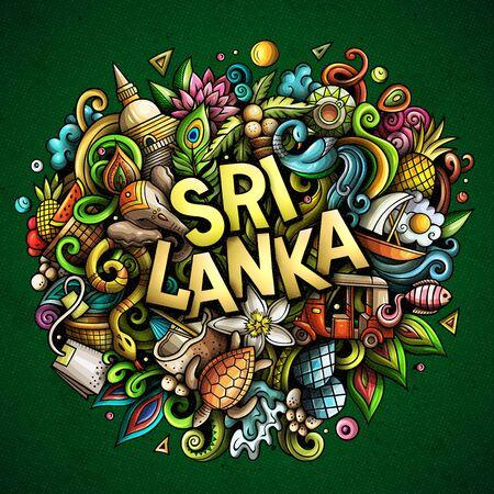 Sri Lanka hand drawn cartoon doodles illustration. Funny design.