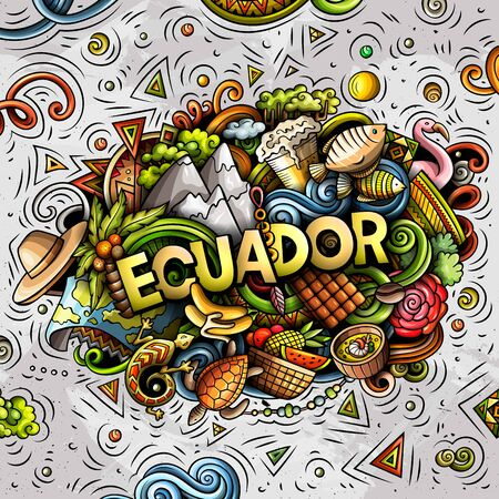 Ecuador hand drawn cartoon doodles illustration. Funny design.