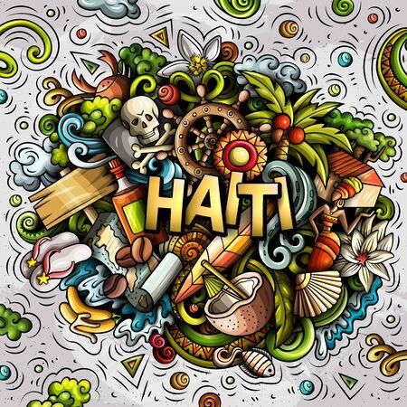 Haiti hand drawn cartoon doodles illustration. Funny design.