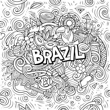 Brazil hand drawn cartoon doodles illustration. Funny design. Ilustracja