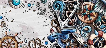 Nautical hand drawn doodle banner. Cartoon detailed flyer.