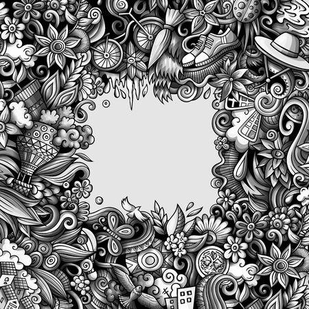 Spring hand drawn vector doodles illustration. Nature frame design. 矢量图像