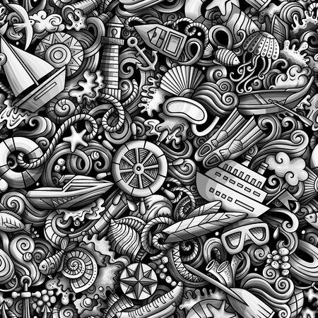 Cartoon cute doodles hand drawn Marine seamless pattern.