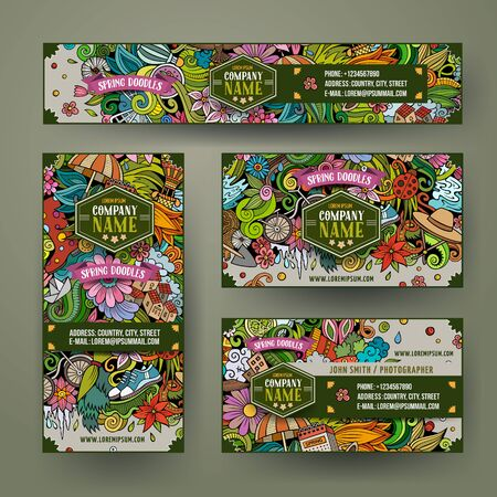 Corporate Identity vector templates set design with doodles Spring theme