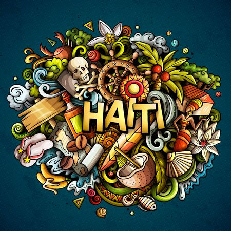 Haiti hand drawn cartoon doodles illustration. Funny design. Ilustrace