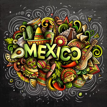 Mexico hand drawn cartoon doodles illustration. Funny design.