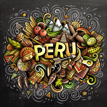 Peru hand drawn cartoon doodles illustration. Funny design. Ilustrace