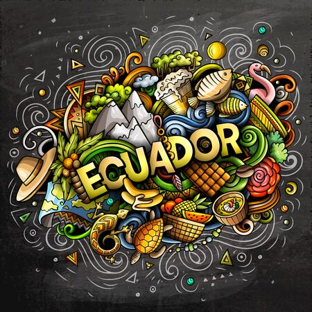 Ecuador hand drawn cartoon doodles illustration. Funny design. Ilustrace