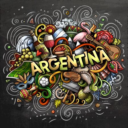 Argentina hand drawn cartoon doodles illustration. Funny design. Ilustrace