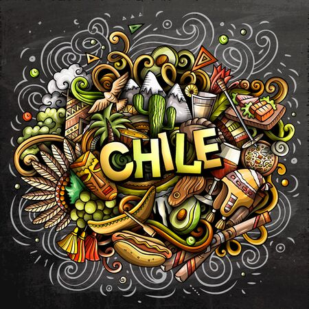 Chile hand drawn cartoon doodles illustration. Funny design.