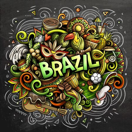Brazil hand drawn cartoon doodles illustration. Funny design. Ilustrace