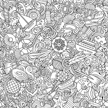 Cartoon cute doodles hand drawn Marine seamless pattern.