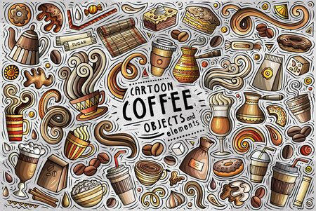 Vector set of Coffee theme items, objects and symbols