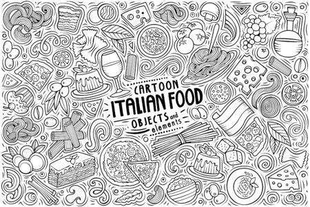 Vector set of Italian food theme items, objects and symbols Иллюстрация