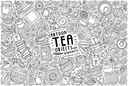 Vector hand drawn doodle cartoon set of Tea theme items, objects and symbols