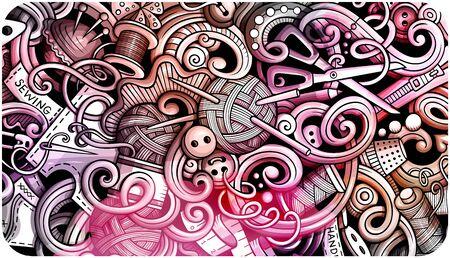 Handmade hand drawn doodle banner. Cartoon detailed flyer. Vektorgrafik