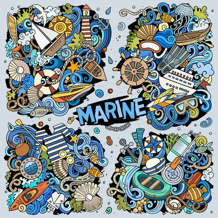 Vector doodles cartoon set of Marine combinations of objects