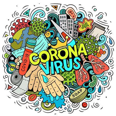 Illustration de griffonnages de dessin animé dessinés à la main de coronavirus. Composition colorée Vecteurs