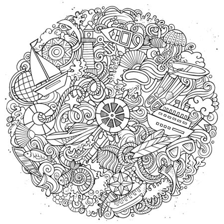 Marine hand drawn vector doodles illustration. Color funny picture.