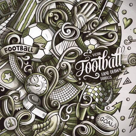 Cartoon vector doodles Soccer frame. Graphics football funny border 矢量图像