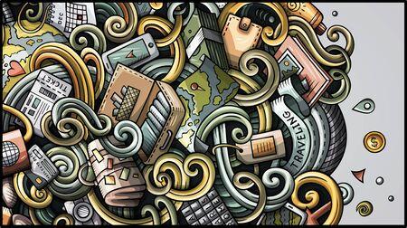 Travel hand drawn doodle banner. Cartoon detailed flyer.