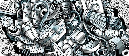 Bathroom hand drawn doodle banner. Cartoon detailed flyer.