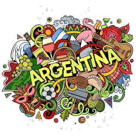 Argentina hand drawn cartoon doodles illustration. Funny design.