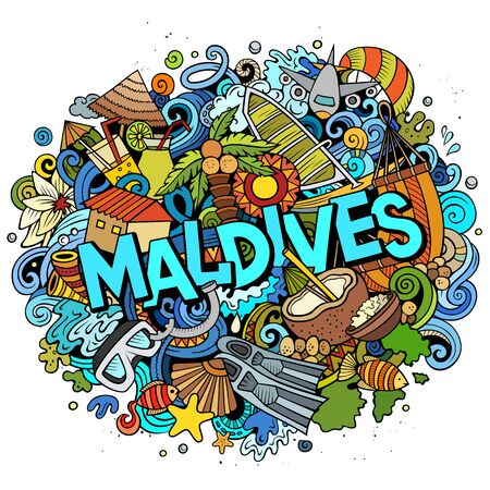 Maldives hand drawn cartoon doodles illustration. Funny travel design.