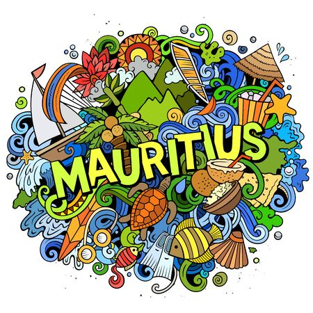 Mauritus hand drawn cartoon doodles illustration. Funny travel design. Banque d'images - 143717326