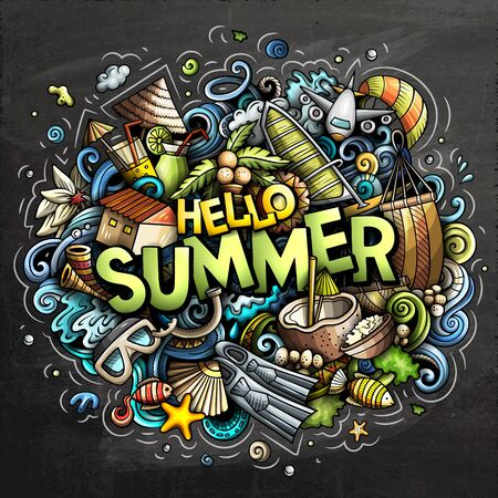 Hello Summer hand drawn cartoon doodles illustration. Funny seasonal design. Creative art vector background. Handwritten text with vacation elements and objects. Colorful composition