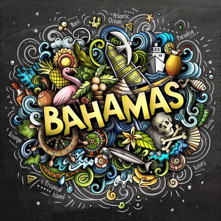 Bahamas hand drawn cartoon doodles illustration. Funny travel design.