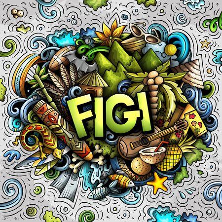 Figi hand drawn cartoon doodles illustration. Funny travel design.