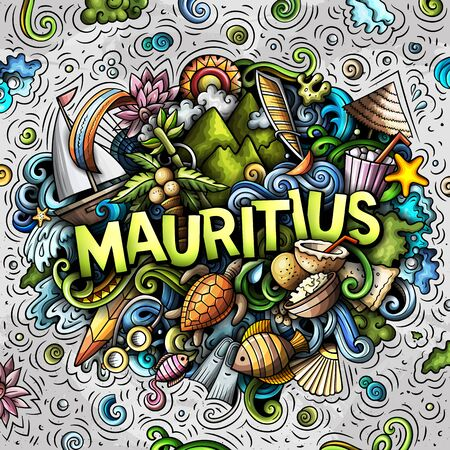 Mauritus hand drawn cartoon doodles illustration. Funny travel design. Banque d'images - 144010893