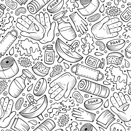 Hand wash hand drawn doodles seamless pattern. Protective measures background.