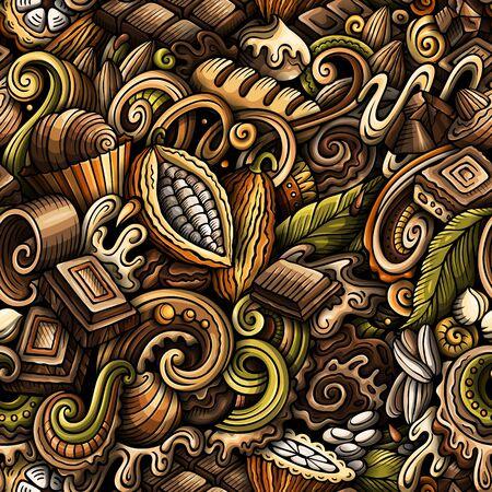 Chocolate hand drawn doodles seamless pattern. Cocoa vector illustration. Ilustración de vector