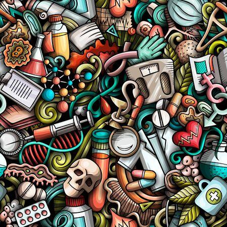 Cartoon cute doodles hand drawn Medicine seamless pattern.