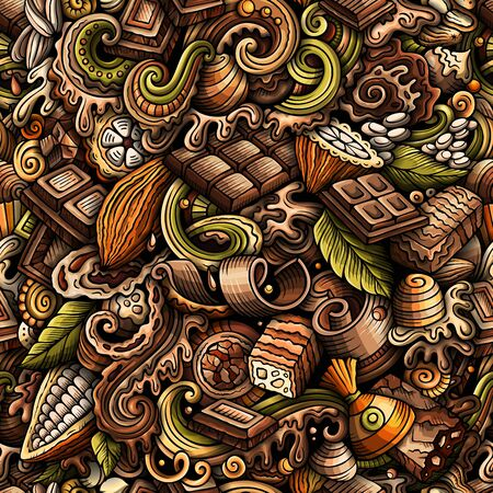 Chocolate hand drawn doodles seamless pattern. Cocoa vector illustration.