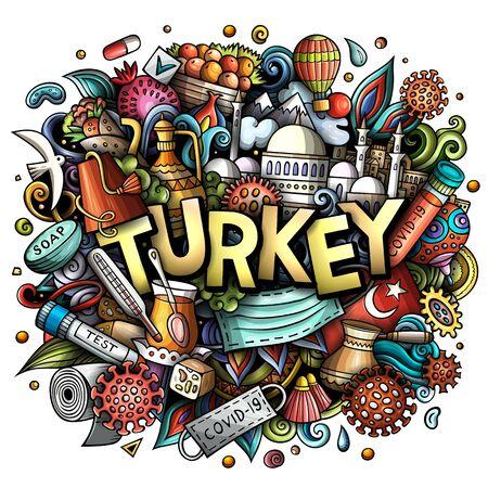 Turkey hand drawn cartoon doodles illustration. Coronavirus cartoon design.