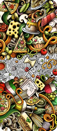 Italian food hand drawn doodle banner. Cartoon detailed flyer.