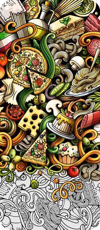 Italian food hand drawn doodle banner. Cartoon detailed flyer. Фото со стока - 146561234