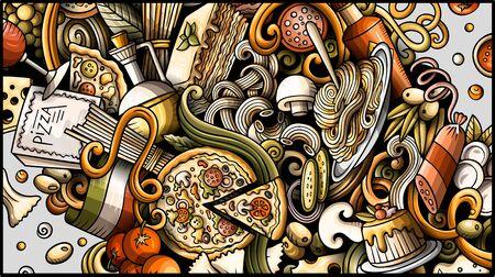 Italian food hand drawn doodle banner. Cartoon detailed flyer.